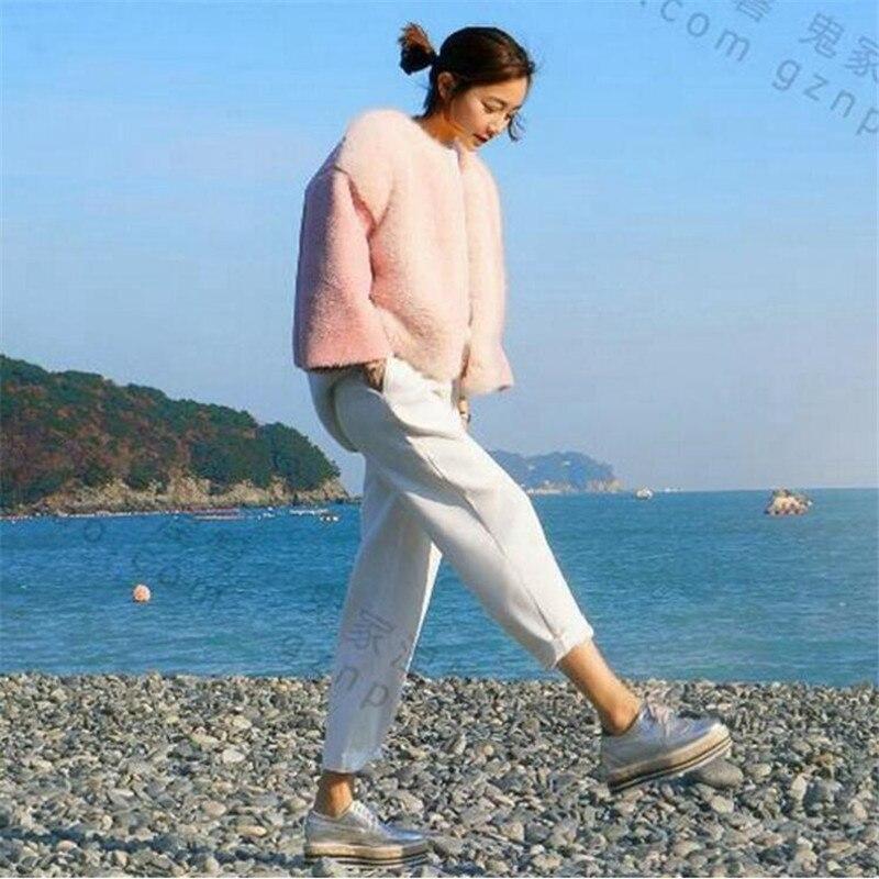 2019 Yeni Kış Kadın Kürk Kore Tarzı Pembe Güzel Moda En - Bayan Giyimi - Fotoğraf 2