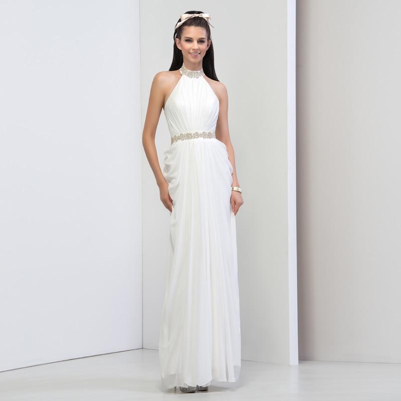 5c02e5f1dd DressV Largos Blancos Vestidos De Baile 2016 Con Cuentas Cuello Halter  Backless Atractivo Piso Longitud de La Boda Vestidos de Fiesta Vestidos de  Noche ...