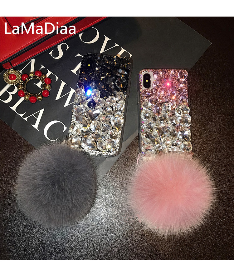 LaMaDiaa Hairball Diamond Case for samsungS5 S6 S7 S8 S9 S8plus N4 N5 N8 coque Bling Crystal Rhinestone Phone Cover coque capa