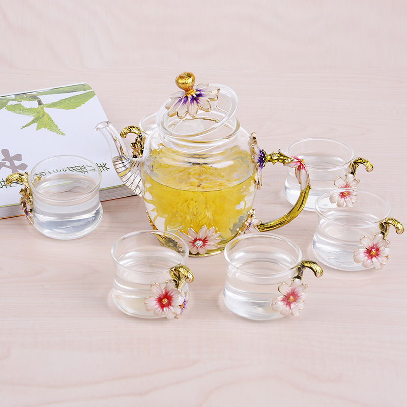 1Set New Enamel Painting Glass Coffee Mugs Luxury Glass Cups with Handle Flower Tea Set Juice and Coffee Cups Christmas Gifts in Transparent from Home Garden