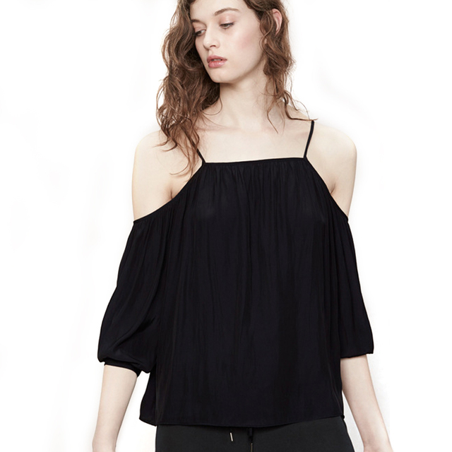 f14b66b6 Femmes Casual Spaghetti Strap Off Épaule Tops Noir halter femmes t-shirt  dos nu mode