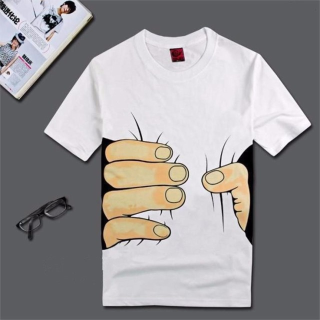 3D Big Hand Short Sleeve Cotton T Shirt Breathable O Neck