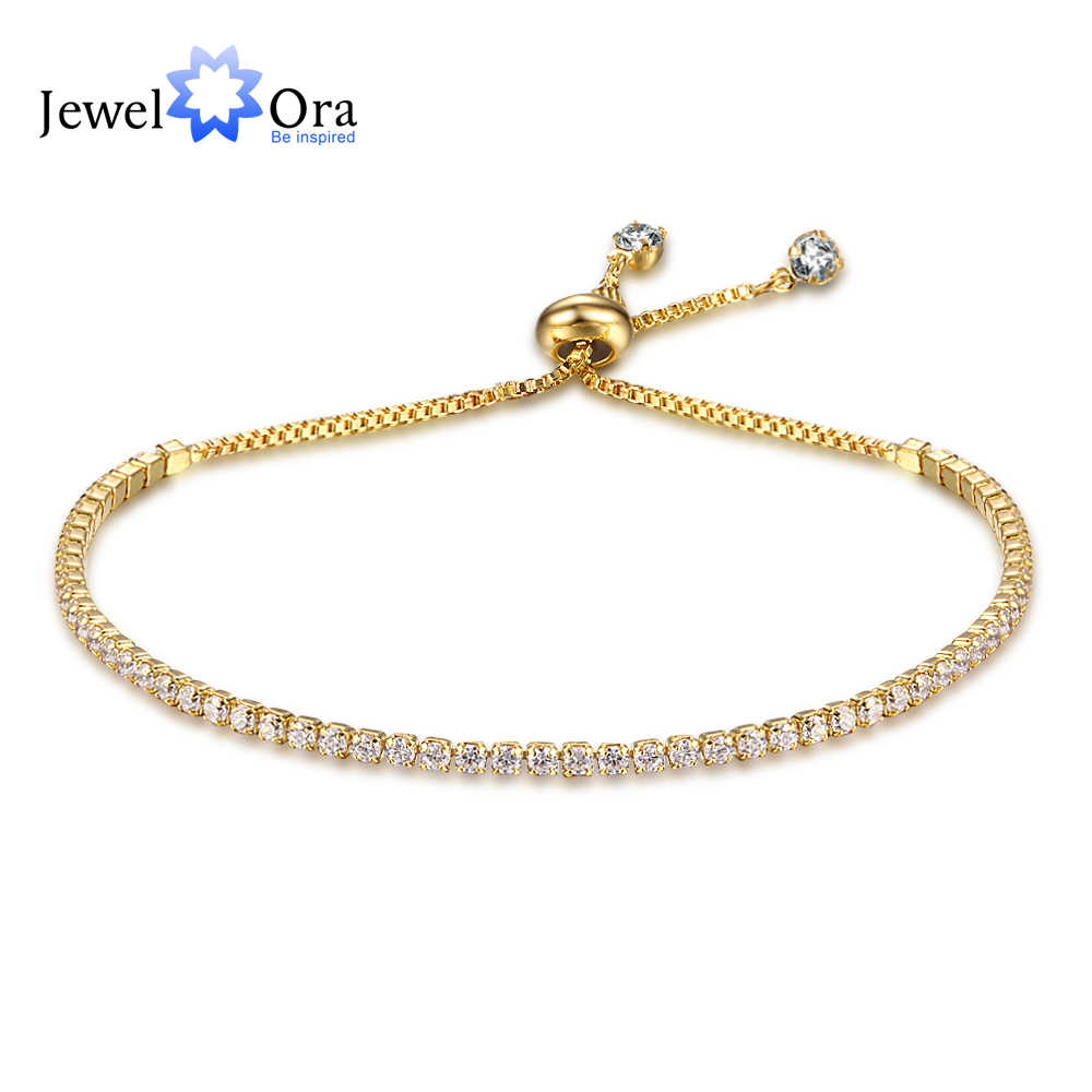 Party Jewelry Adjustable Bracelet For Women 2mm Cubic Zirconia Gold Color Blacelets & Bangles Gift For Her (JewelOra BA101437)