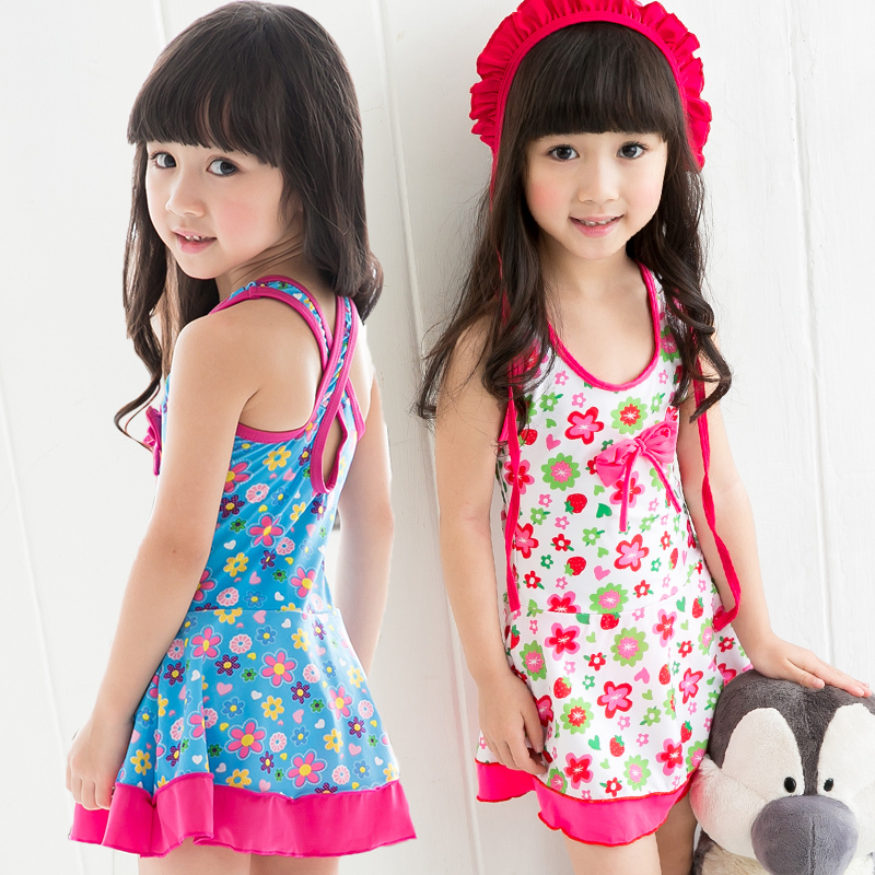 Retail Girls Swimwear 2015 With Flowers Printed Skirted One Piece Swimsuit With Cap Kids Swim -3478