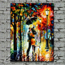 dance in the rain Oil painting Palette knife oil painting art knife oil painting on canvas hight Quality Hand-painted Painting4