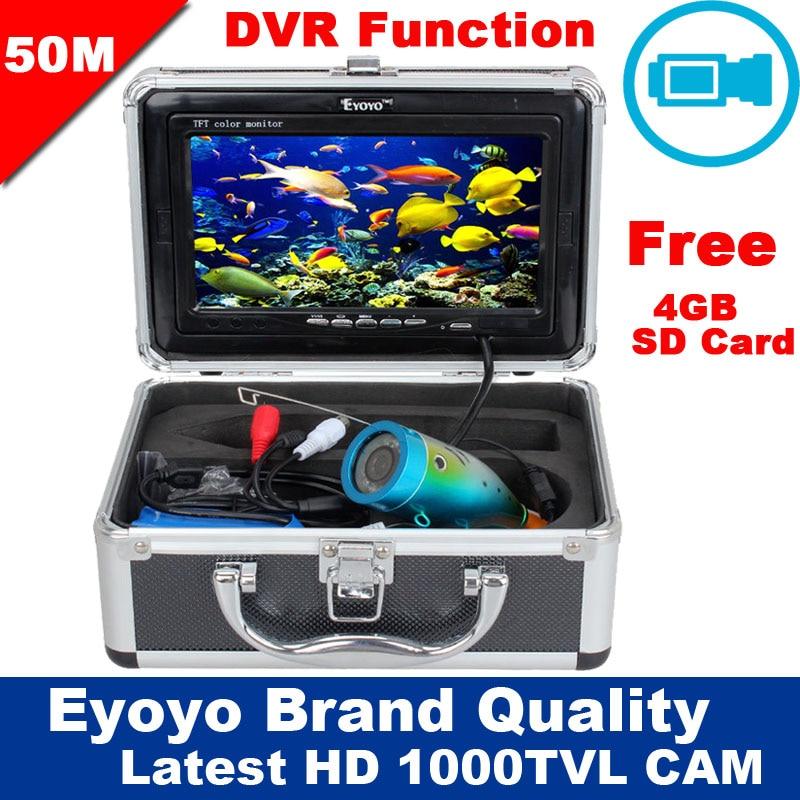 Livraison Gratuite! eyoyo D'origine 50 m 1000TVL HD CAM Professional Fish Finder Sous-Marine De Pêche Vidéo Enregistreur DVR 7 Moniteur Couleur