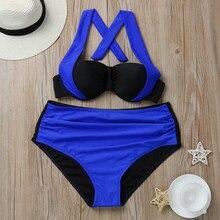 Triangle Plus Size Bandage Push Up Swimsuit