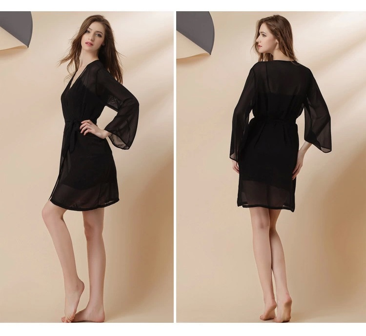 black silklike sexy lingerie robes set 2