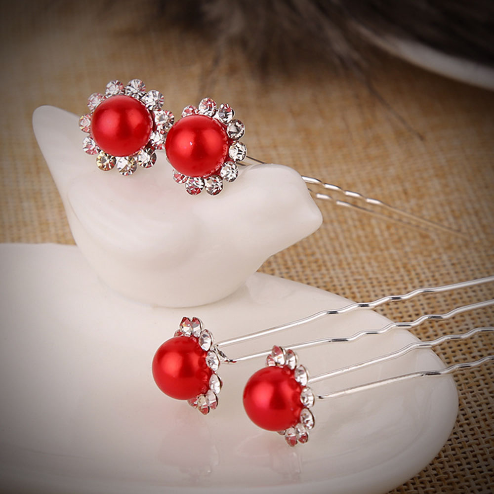 Red Color Rhinestone Crystal Drill Pearl Hairpin Hair Clip Wedding Bridal Headwear Hair Pins Styling Tools Braiding Accessories