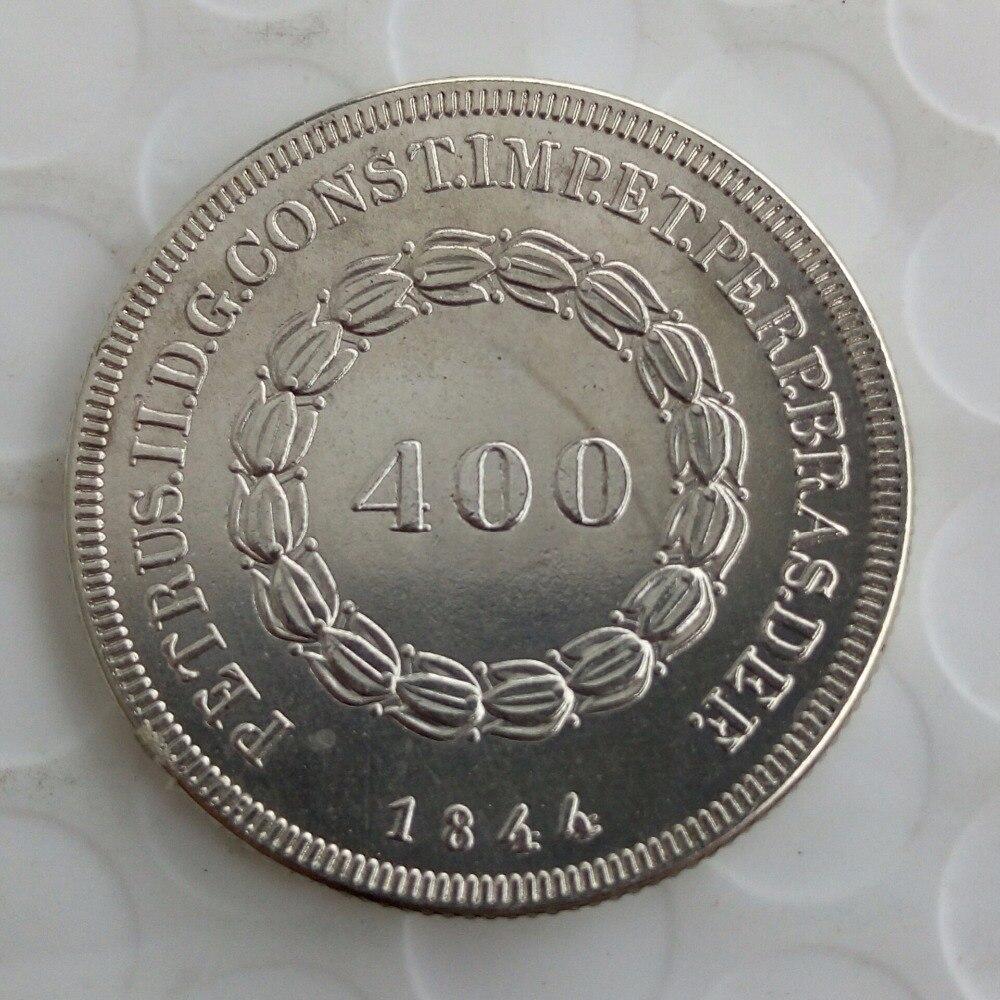 90% серебряные Бразилия 400 Reis набор (1834 1843 1844) 3 шт. Серебряный империи Pedro II копирования монеты