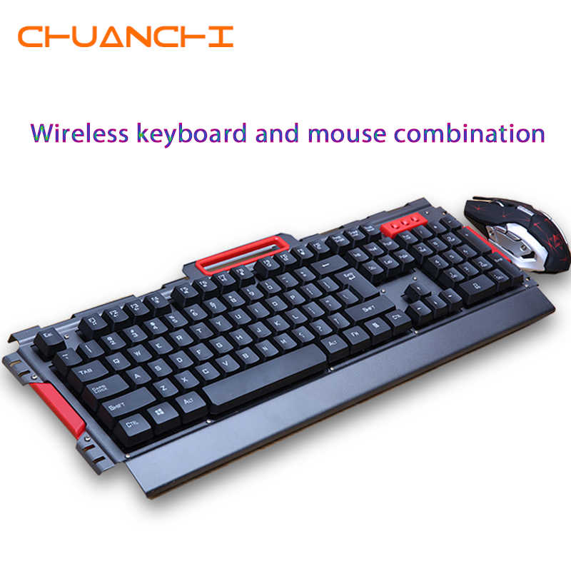 Wireless Gaming Keyboard 2.4GHz and Optical Mouse Combo Black/white 104 Keys English/Russian Sticker for Windows and android IOS