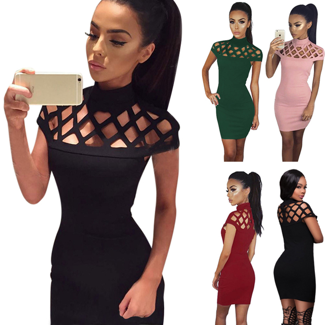 7b2c3fc60d752 US $0.99  2017 New Arrival Women Fashion Sexy Slim Stand Collar Hollow Out  Solid Bodycon Pencil Party Club Short Mini Dress-in Dresses from Women's ...