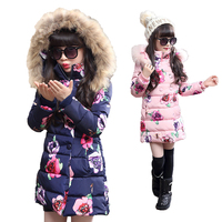 Hot sell 2017 Fashion Medium long Winter Coat for Girls Children Clothing Big Girls Printed Cotton padded Jacket with Fur Hood