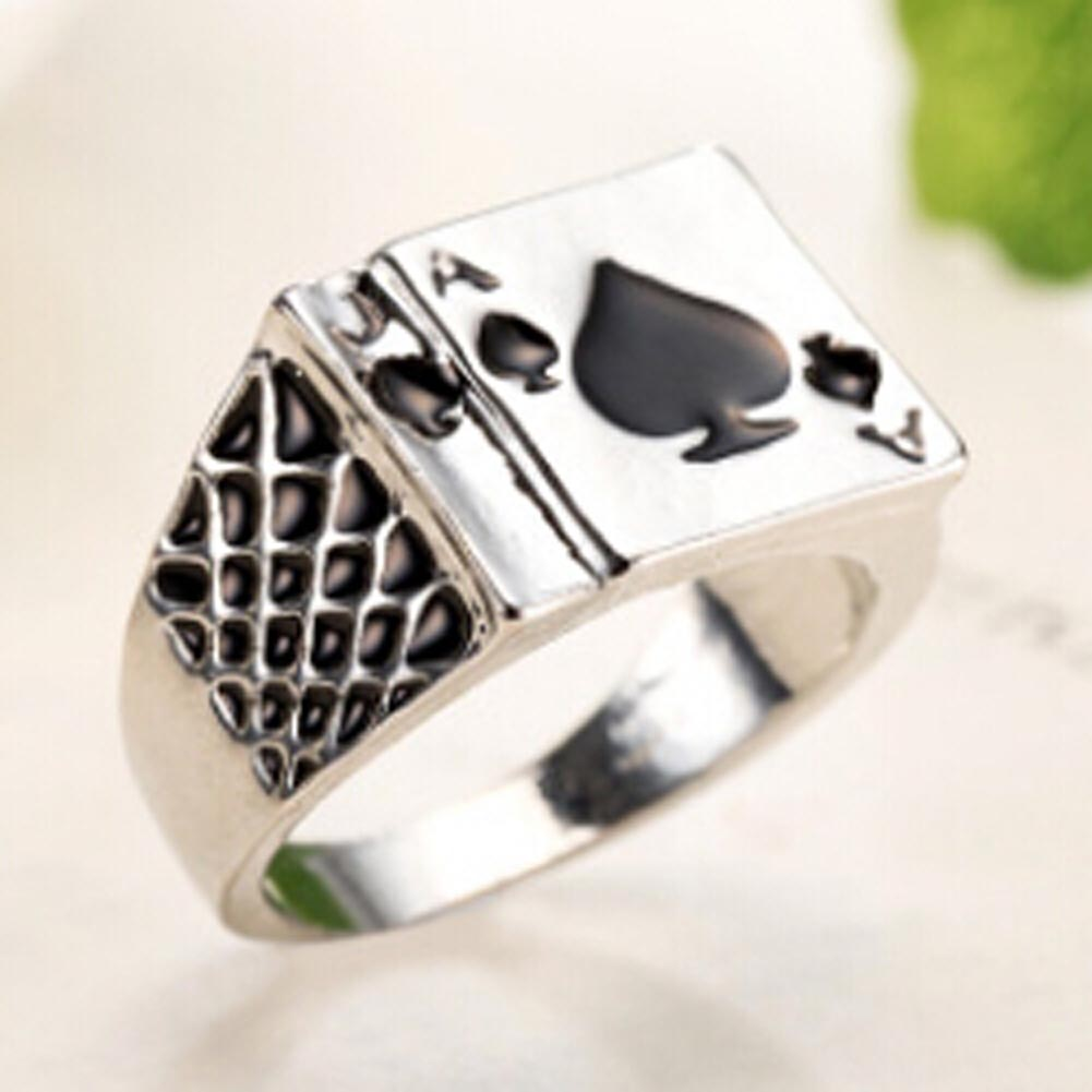 Fashion Classic Cool Mens Jewelry Chunky Black Enamel Spades Poker Ring Men Silver Color
