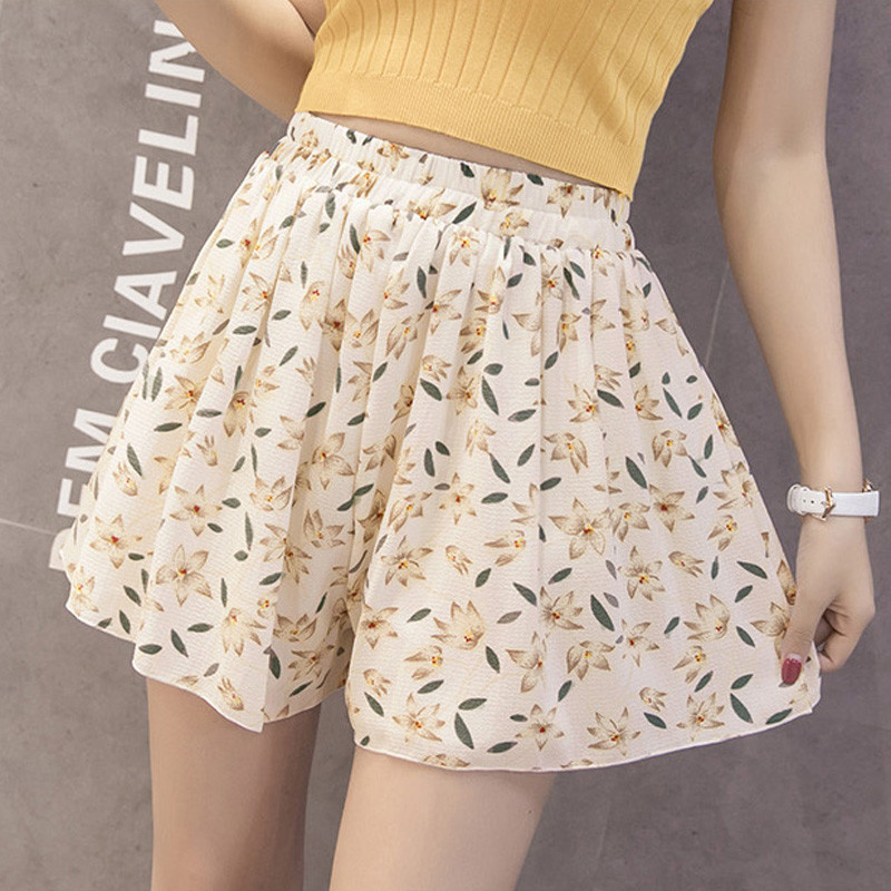 Floral Printed Women Summer Short Femme Harajuku Wide Leg Chiffon Loose Girlish Female Short Feminino 1
