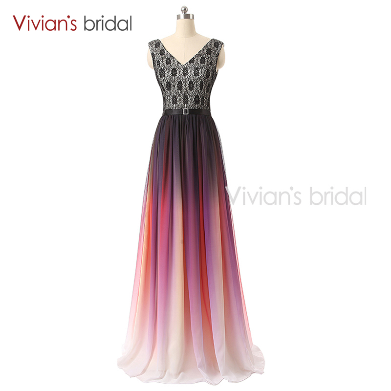 Vivian's Bridal Long   Evening     Dress   Lace Up V Neck Cap Sleeve Rainbow Tulle Formal   Evening   Gown 02