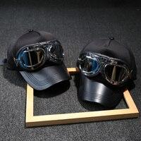 Sunglasses Decoration Flying Hat Black PU Eaves Man Cool Baseball Cap Hip Hop Tactical Cap Vintage