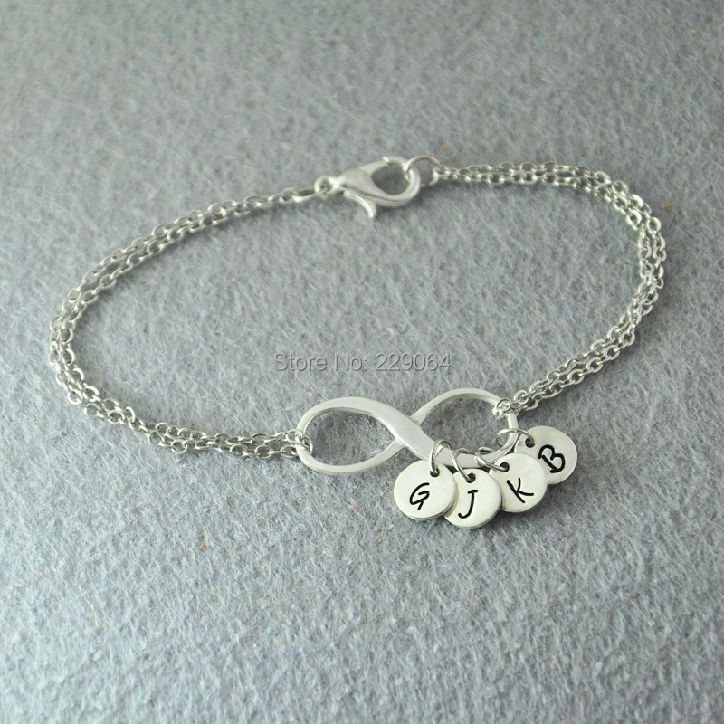 Personalized Infinity Bracelet Custom Initials Jewelry Personal Letter Alloy Any In Charm Bracelets From