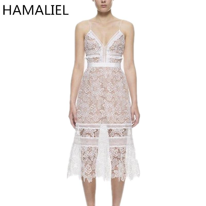 Self Portrait Dress 2017 Runway Summer Women Spaghetti Strap Embroidery Flower High Waist Ladies Sexy Hollow