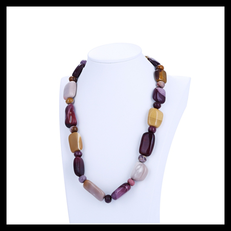 Natural Stone Mookite Jasper Necklace length 44cm 117 6g Semiprecious Stone Beautiful Beads Accessories