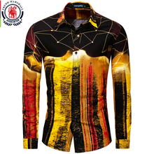 Fredd Marshall New 2019 패션 남성 셔츠 힙합 슬림 피트 긴 소매 하와이 셔츠 캐주얼 Streetwear 남성 3D 프린트 셔츠 30