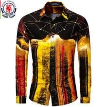Fredd Marshall nowy 2019 moda męska koszule Hip Hop Slim Fit z długim rękawem koszula hawajska casualowe w stylu Streetwear mężczyzna 3D druku koszula 30