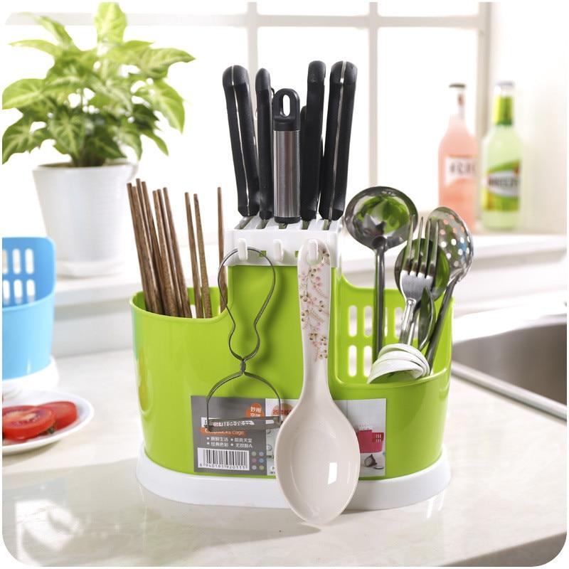 Többfunkciós konyhai evőeszközök polctartók Rack edénycsatornák lerakó pálcika rack tároló állvány kreatív praktikus műanyag evőeszközök
