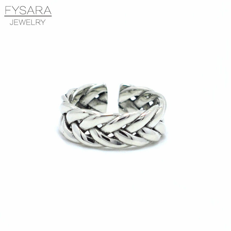 New Style Vingtage Jewelry 925 Sterling Silver Ring Woven Wheat Shape Intersect Personality Ring Women Pure Silver Wedding Rings
