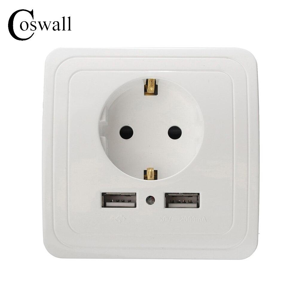 Fabricante Coswall Pared 16A Toma de Corriente Toma de Corriente Estándar de LA UE Con 2A Dual USB Puerto Cargador para Móvil Blanco Plata Oro 3 Color