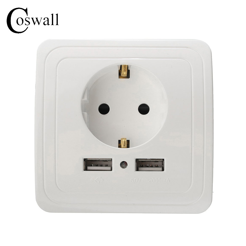 Manufacturer Coswall Wall Power Socket 16A EU Standard Outlet With 2A Dual USB Charger Port for Mobile White Silver Gold 3 Color