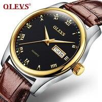 OLEVS Men Watch Top Brand Luxury Male Leather Waterproof Sport Quartz Water Resistant Military Wrist Watch