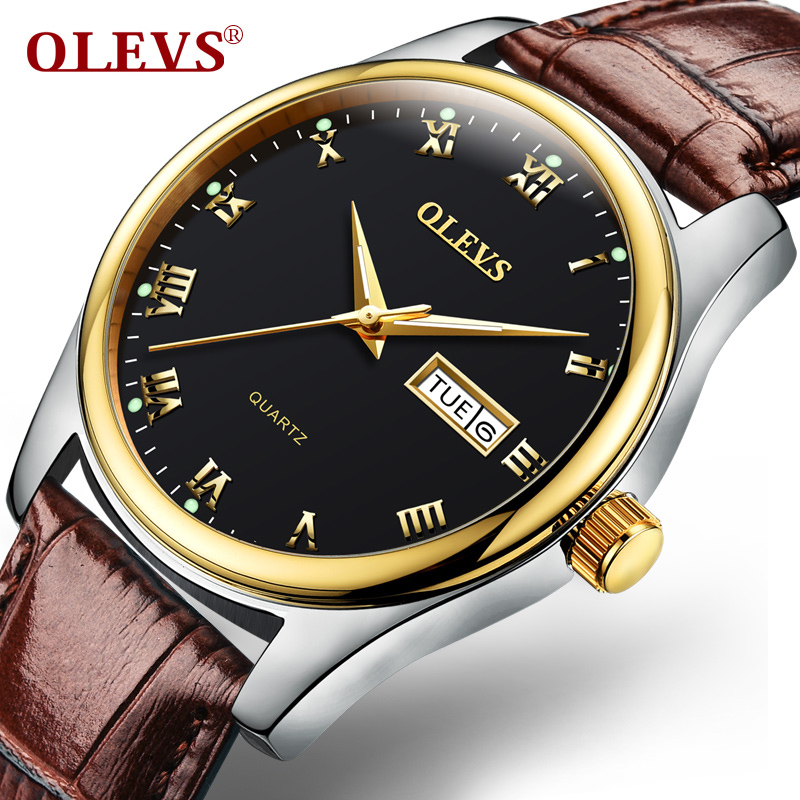 OLEVS Men Watch Top Brand Luxury Male Leather Waterproof Sport Quartz Water Resistant Military Wrist Watch Men Clock relogio zgo high quality resin sport watch men 50m water resistant 1 year warranty white black golden sport wrist watch