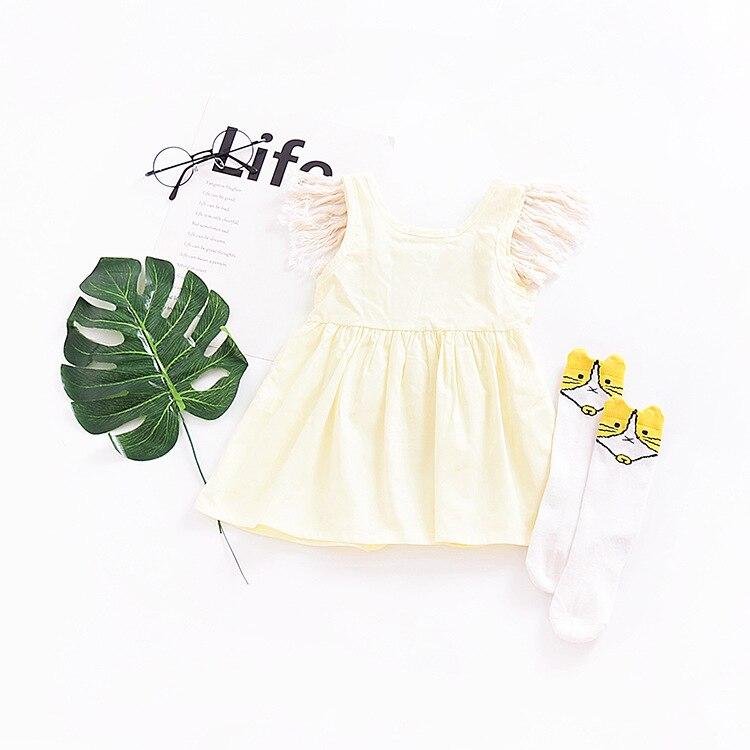Summer Babies Tassel Dresses Kids Gils Cotton Ruffles Dress Baby Girls Princess Sleeveless Dress 2018 Kids Clothing