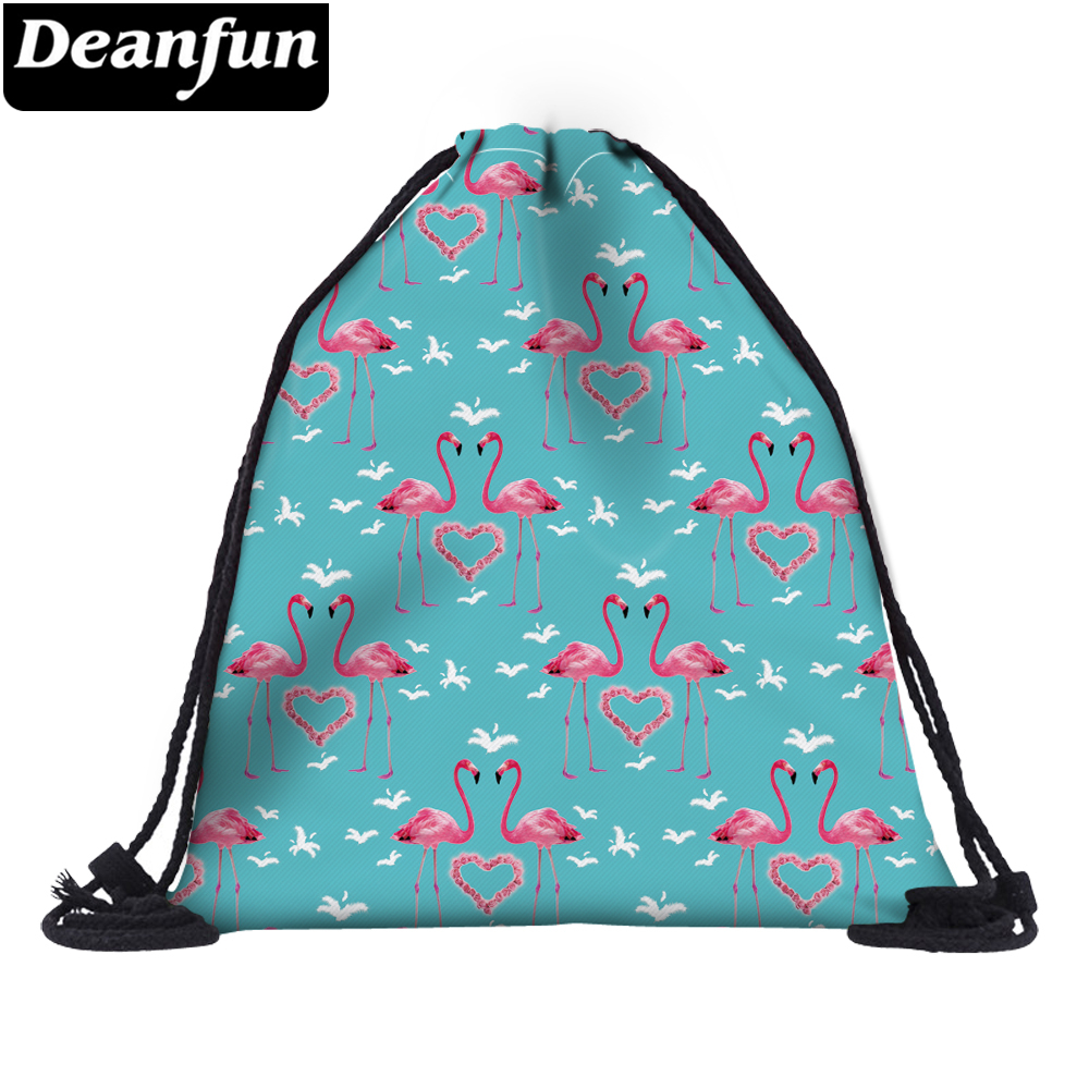 Deanfun 3D Printed Drawstring Bags Flamingo Pattern Cute Girls School Bag 30574