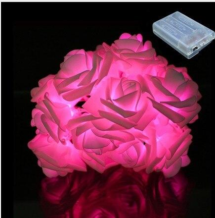 2m 20 rosa bateria luz led string 04