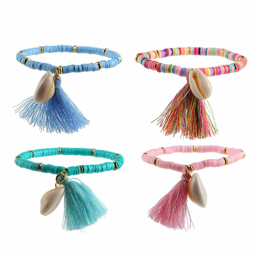 Colorful Tassel And Shell Charms Rubber Beaded Bracelet Femme Handmade Boho Bracelet For Women DIY Making Jewelry Gift