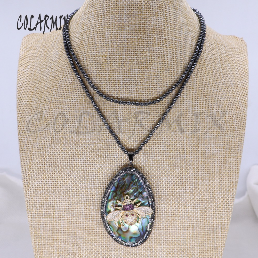 Fashion hematite beaded necklace with abalone&bugs pendant necklace shell stone pendant necklace handmade jewelry gift 4086