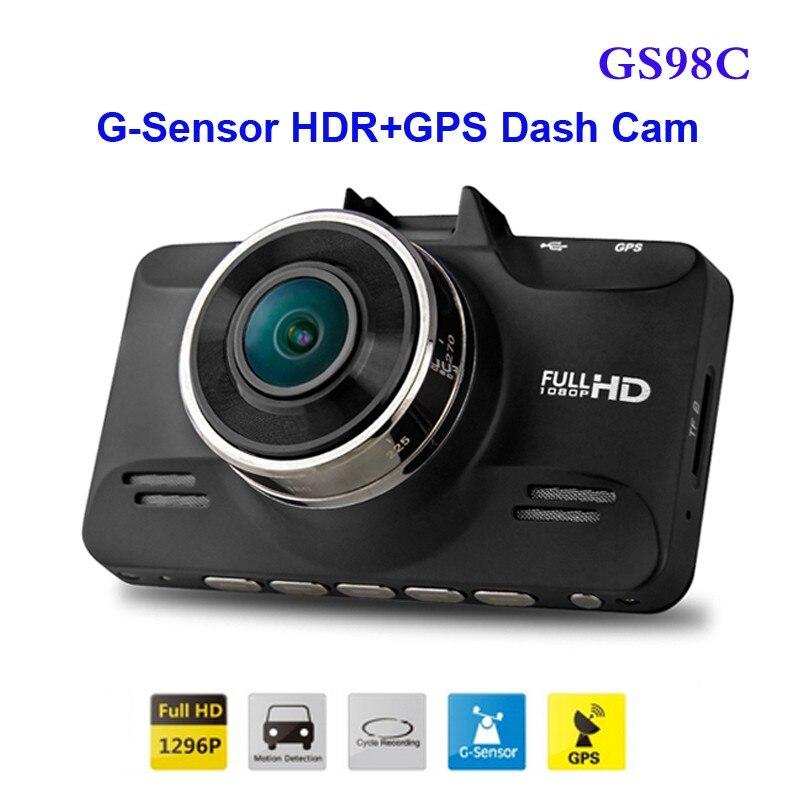 Frete Grátis!! Original GS98C LA70 Ambarella A7 Carro DVR Full HD Gravador De Vídeo 2304*1296 P 30FPS com G-Sensor HDR + GPS Traço Cam