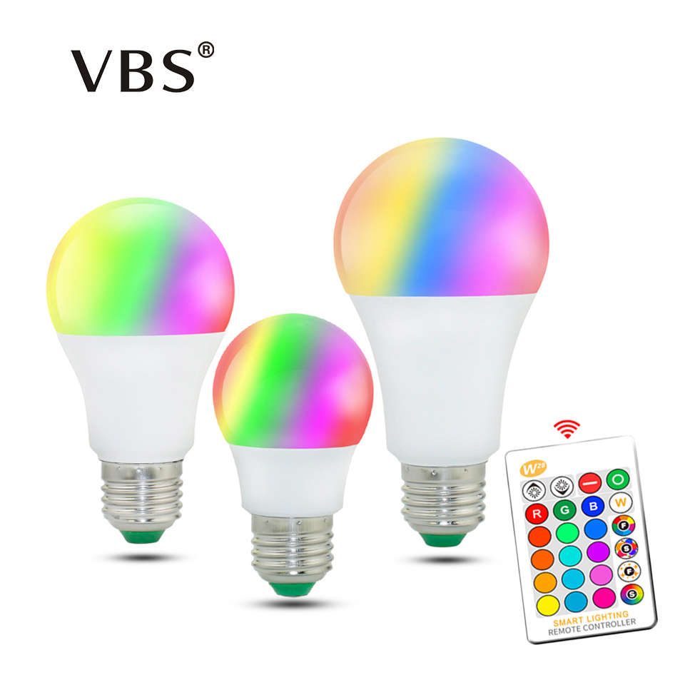 Dimmable LED Bulb E27 E14 3W 5W RGB 10W 15W RGBW RGBWW Lampada 16 Color Memory Function with IR Remote Controller Bombilla led