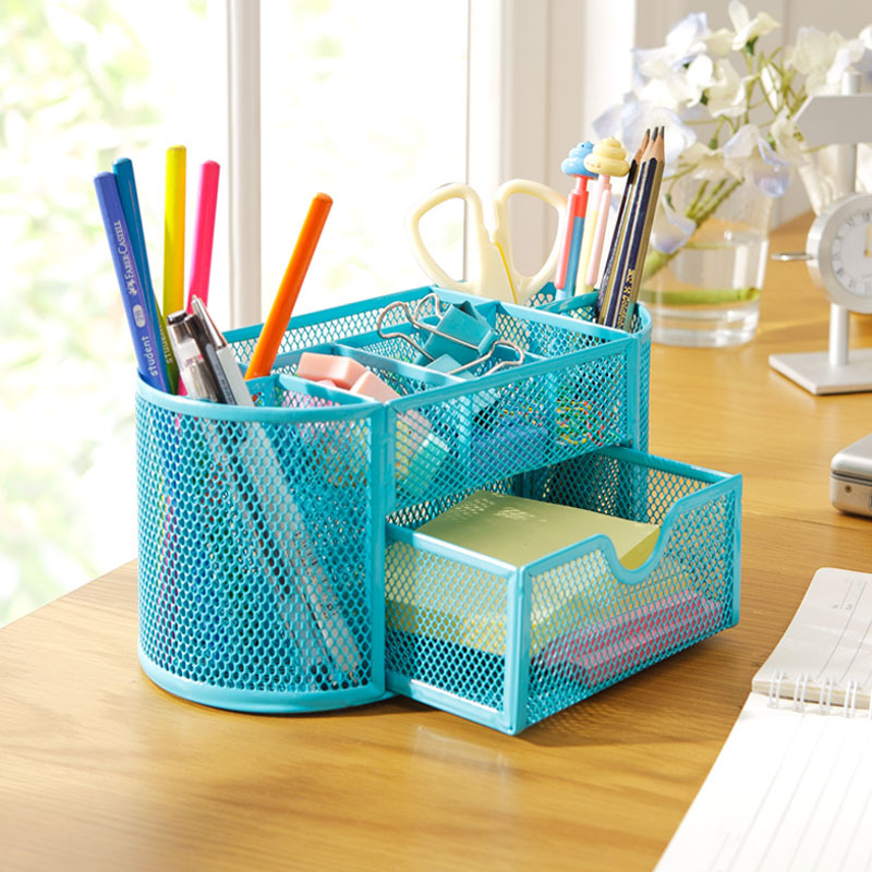 9 Grids Metal Mesh Desk Organizer With Drawer Colorful