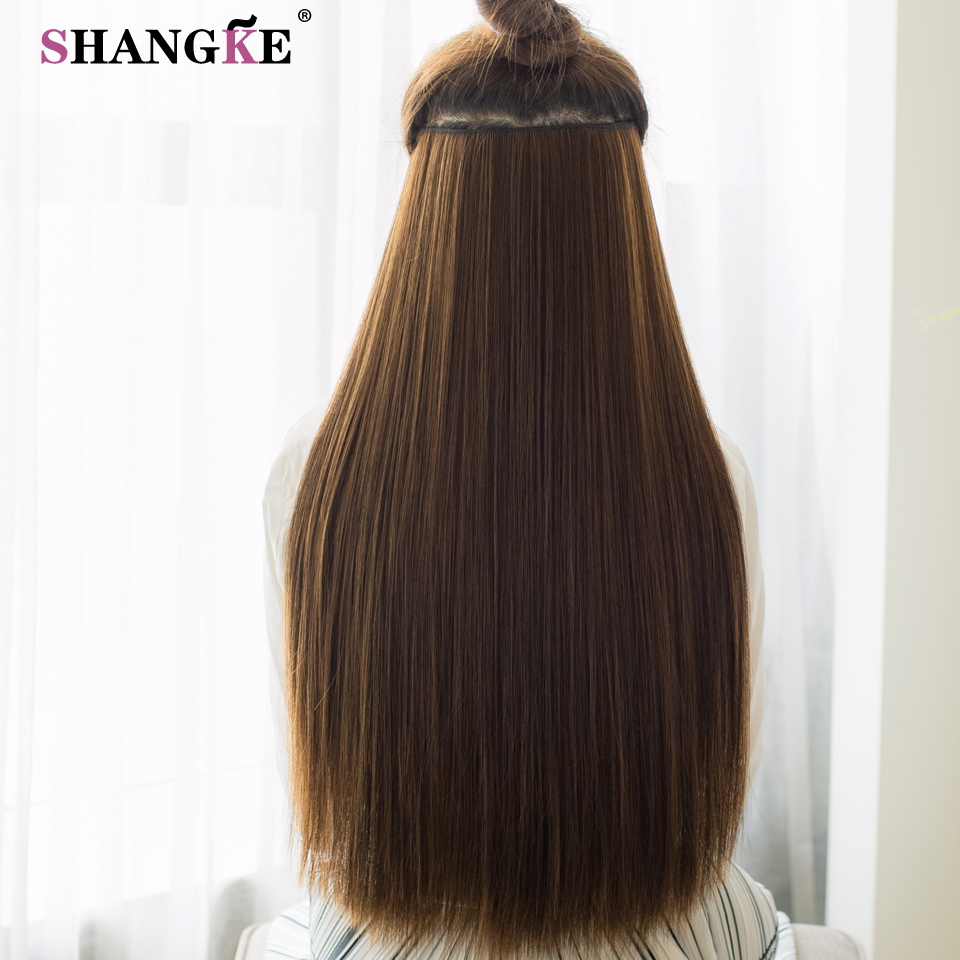 ALI shop ...  ... 32824919504 ... 4 ... SHANGKE 80 CM Long Straight Women Clip in Hair Extensions Heat Resistant Synthetic Hair Piece Black Dark brown Hairstyle ...