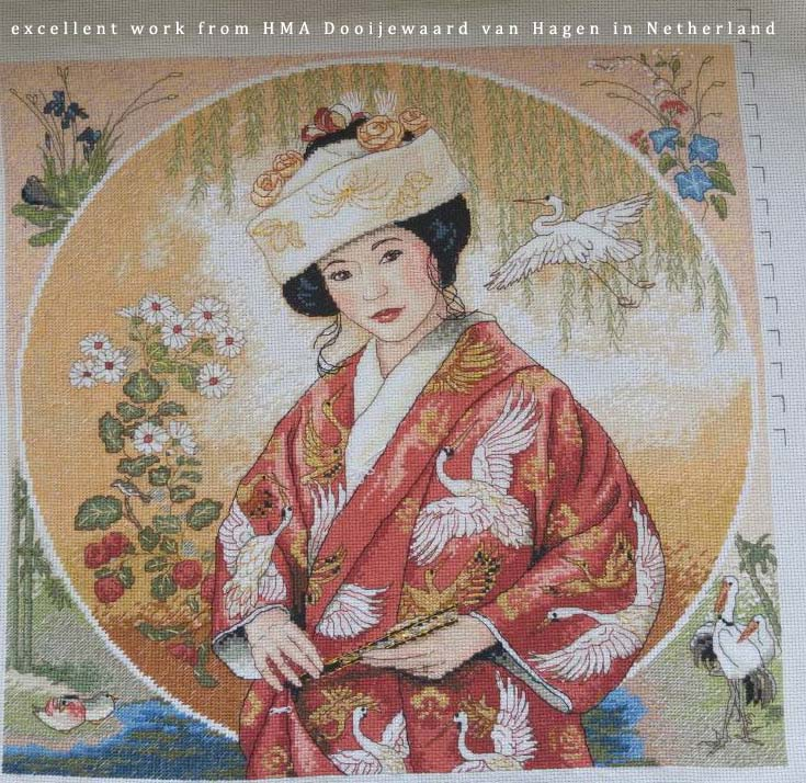Counted Cross Stitch Kit Japanese Maiden Girl Woman Lady dim 35109