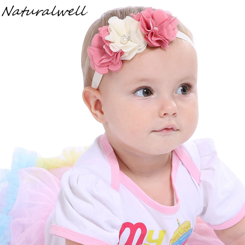 Naturalwell Baby Girl Chiffon Flower Headband Fashion Baby Girl Christening Photo Prop Hair Accessories Toddler Hairband HB249S