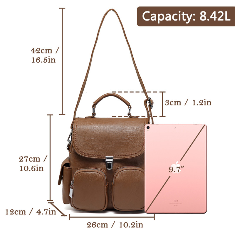 Image 3 - VASCHY Women Backpack Purse Anti Theft Cute Small Mini  Convertible PU Leather Backpack Shoulder Bag for Ladies Teen  GirlsBackpacks