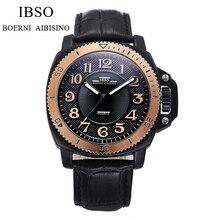IBSO Célèbre Marque Mens Montres Haut Marque De Luxe Sport Quartz-montre Horloge Bracelet En Cuir Homme Montre-Bracelet Relogio Masculino