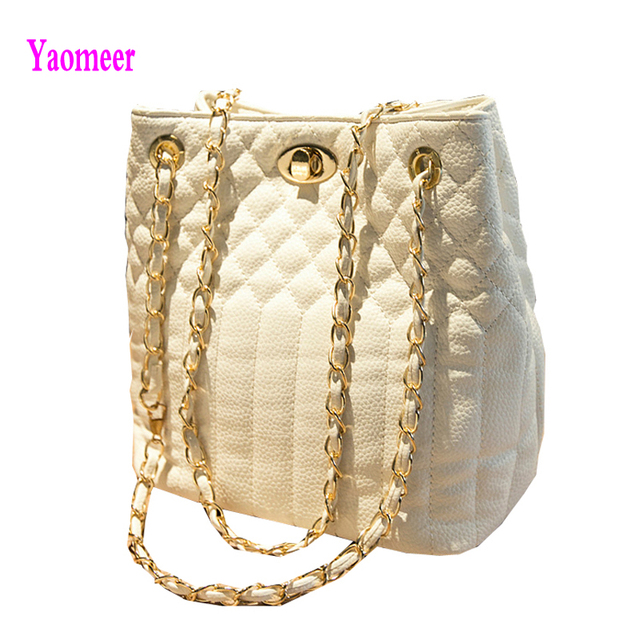 2016 High Quality Women Chain Crossbody Bags Famous Brand Plaid Lock Button Shoulder Bags Leisure White Red Clutch Pu Purse a36