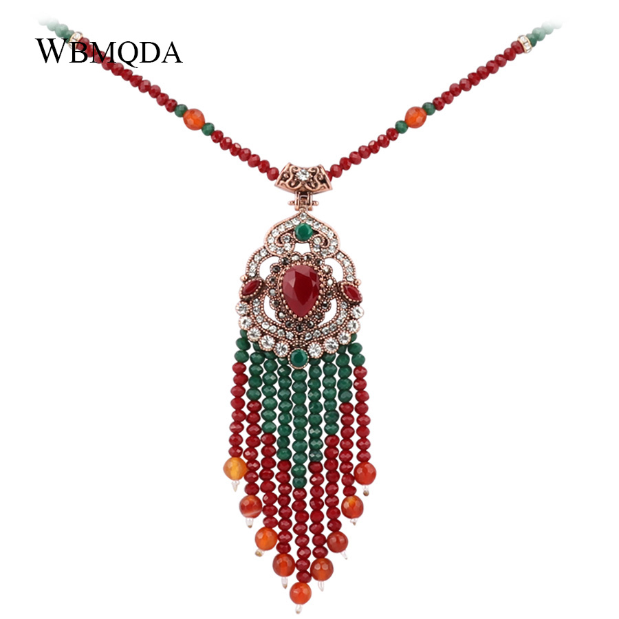 Bohemia Long Necklace For Women With Stone Suspensions Tassel Pendant Necklace Vintage Jewerly 2018 New