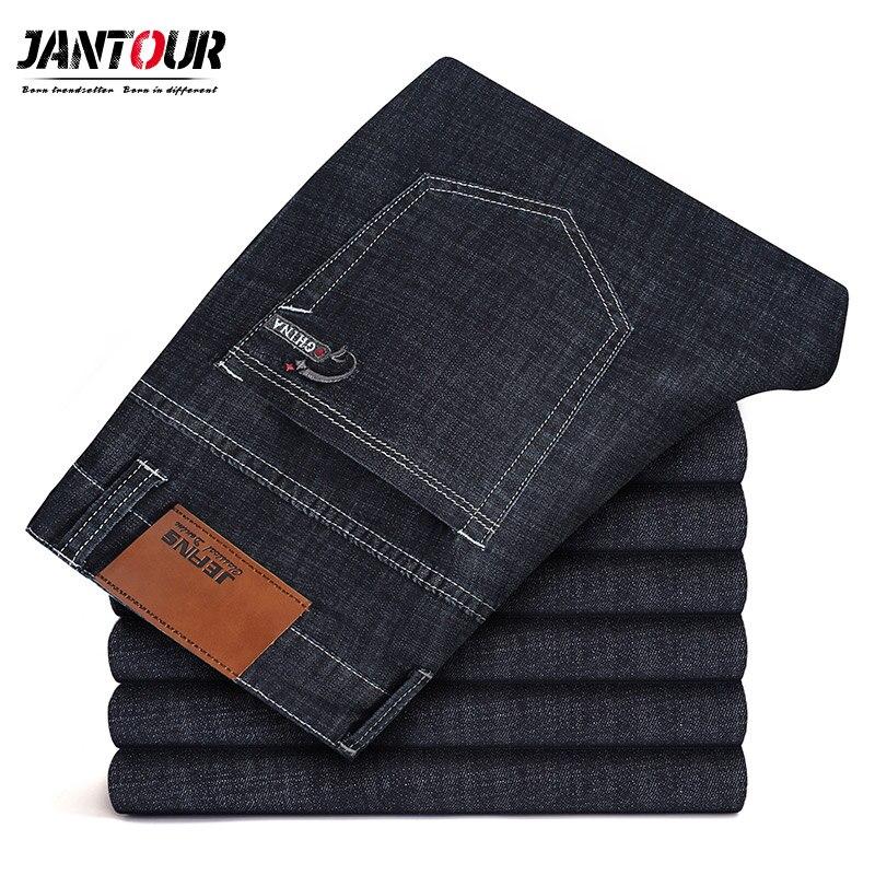 Jantour Brand 2019 New Men's Cotton Slim Elastic   Jeans   Fashion Business Classic Style Straight   Jean   Denim Pants Trousers Male