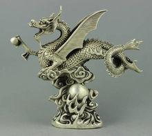 Seltene sammlerstücke Tibet Silber drache statue