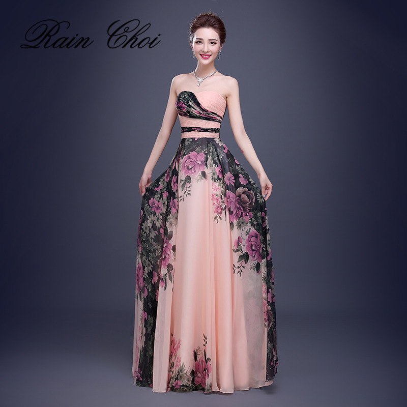 Floral Print Chiffon Evening Dresses Long Prom Party Gown Elegant